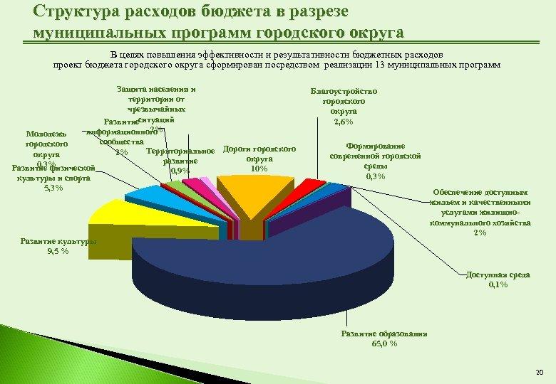 Структура расходов бюджета в разрезе муниципальных программ городского округа В целях повышения эффективности и