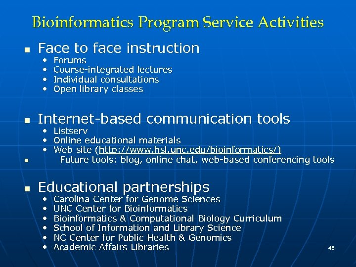 Bioinformatics Program Service Activities n Face to face instruction n Internet-based communication tools •