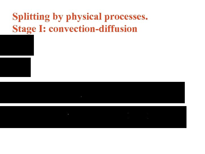 Splitting by physical processes. Stage I: convection-diffusion