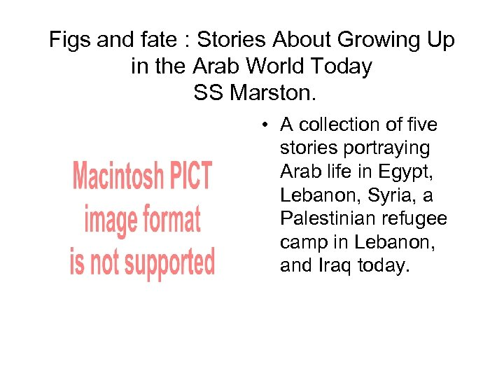 Figs and fate : Stories About Growing Up in the Arab World Today SS