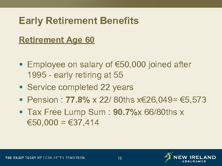 Early Retirement Benefits Retirement Age 60 § Employee on salary of € 50, 000