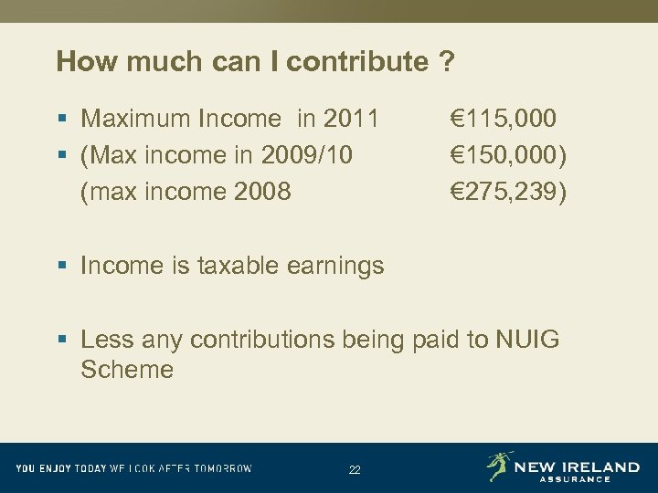 How much can I contribute ? § Maximum Income in 2011 § (Max income