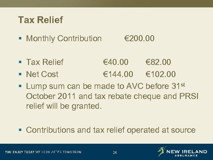 Tax Relief § Monthly Contribution € 200. 00 § Tax Relief € 40. 00