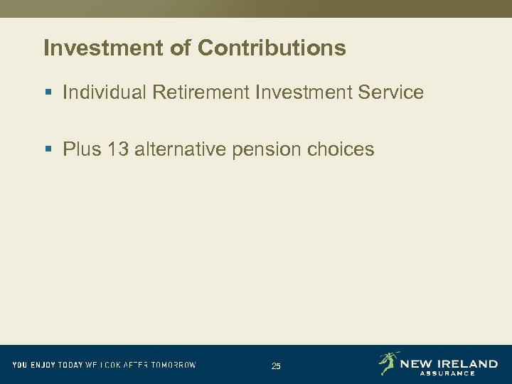 Investment of Contributions § Individual Retirement Investment Service § Plus 13 alternative pension choices