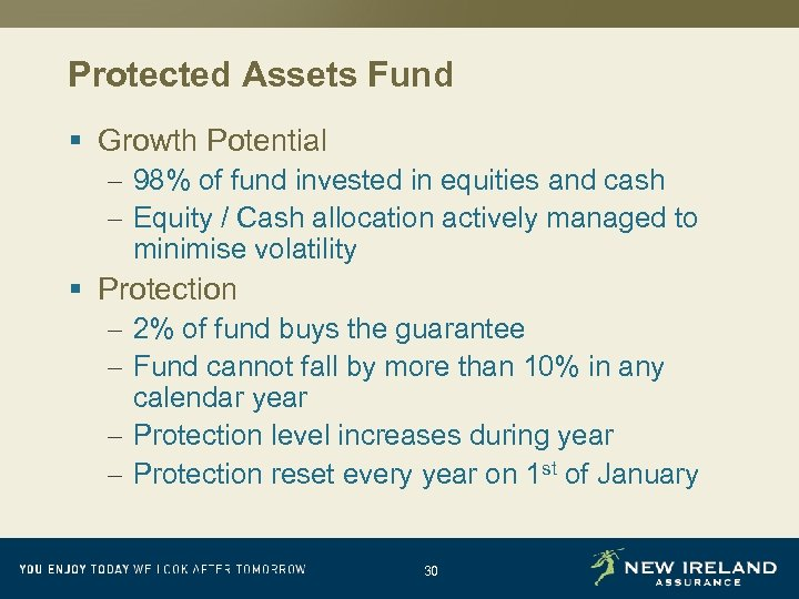 Protected Assets Fund § Growth Potential – 98% of fund invested in equities and
