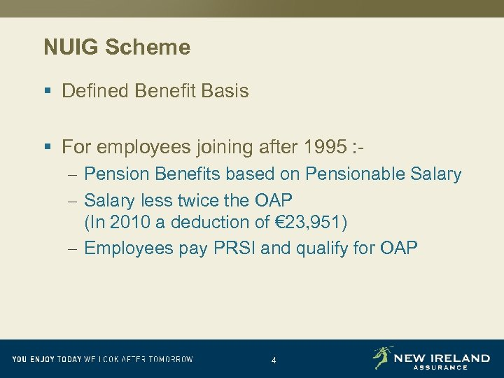 NUIG Scheme § Defined Benefit Basis § For employees joining after 1995 : –