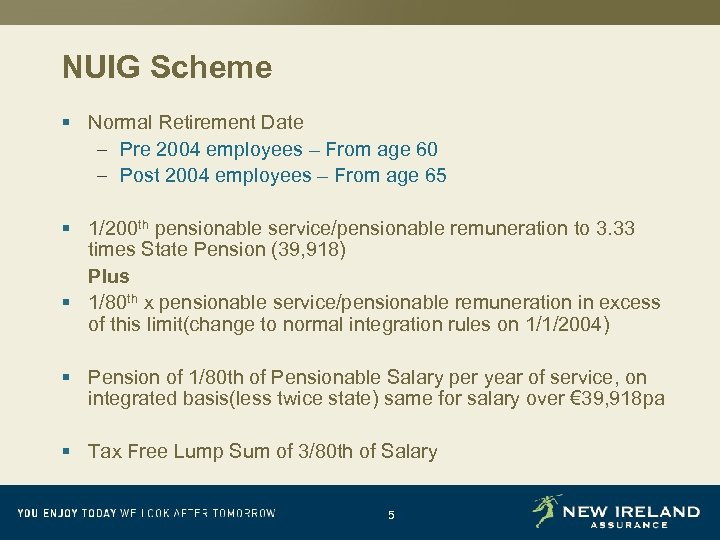 NUIG Scheme § Normal Retirement Date – Pre 2004 employees – From age 60