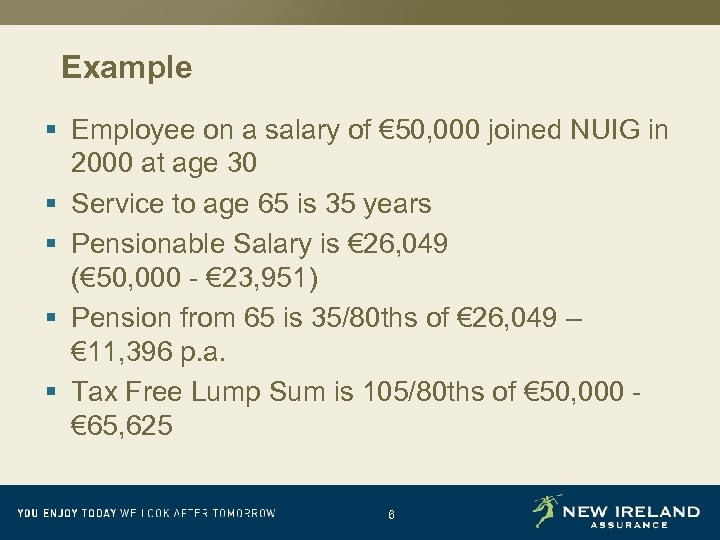 Example § Employee on a salary of € 50, 000 joined NUIG in 2000