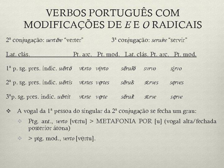 """VERBOS PORTUGUÊS COM MODIFICAÇÕES DE E E O RADICAIS 2ª conjugação: uertĕre """"verter"""" Lat."""