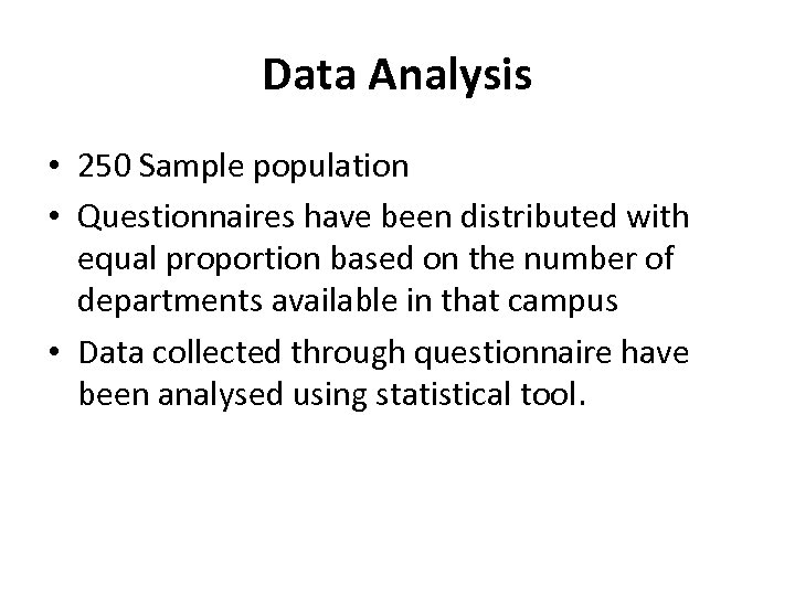 Data Analysis • 250 Sample population • Questionnaires have been distributed with equal proportion