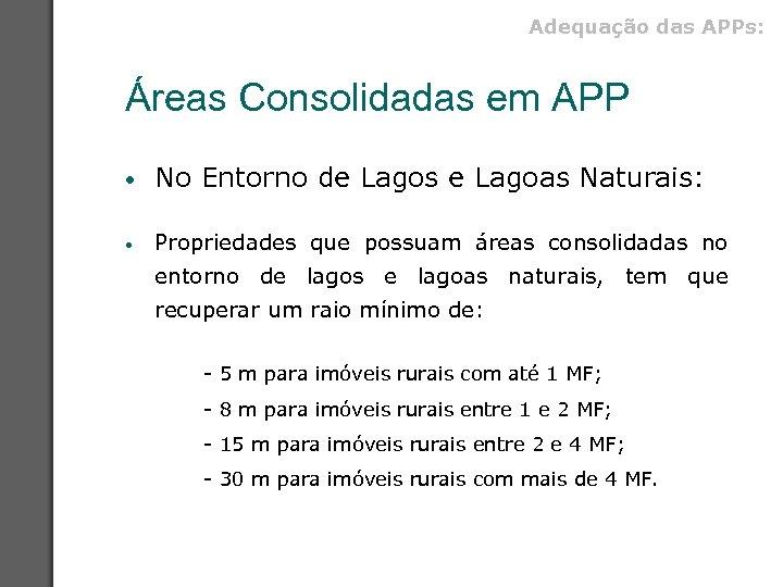 Adequação das APPs: Áreas Consolidadas em APP • No Entorno de Lagos e Lagoas
