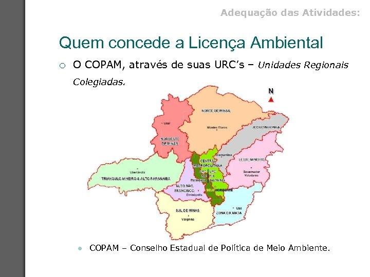 Adequação das Atividades: Quem concede a Licença Ambiental ¡ O COPAM, através de suas