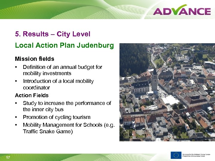 5. Results – City Level Local Action Plan Judenburg Mission fields • Definition of