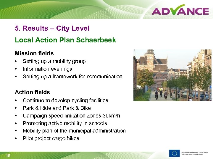 5. Results – City Level Local Action Plan Schaerbeek Mission fields • • •