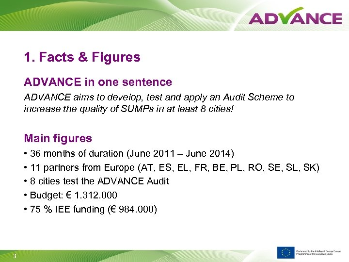 1. Facts & Figures ADVANCE in one sentence ADVANCE aims to develop, test and