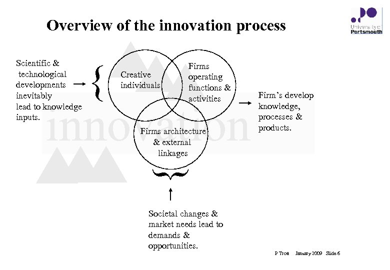 Overview of the innovation process Scientific & technological developments inevitably lead to knowledge inputs.