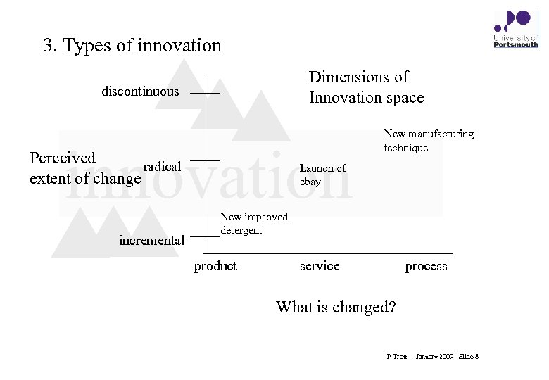3. Types of innovation Dimensions of Innovation space discontinuous innovation Perceived radical extent of