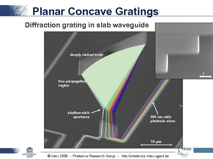 Planar Concave Gratings Diffraction grating in slab waveguide deeply etched teeth 1 μm free