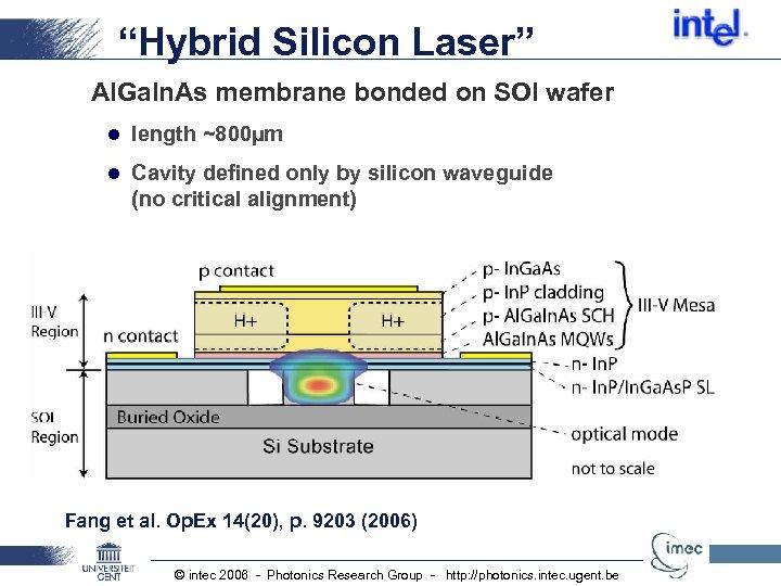 """Hybrid Silicon Laser"" Al. Ga. In. As membrane bonded on SOI wafer l length"