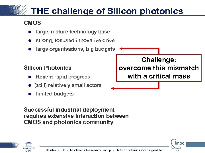 THE challenge of Silicon photonics CMOS l large, mature technology base l strong, focused