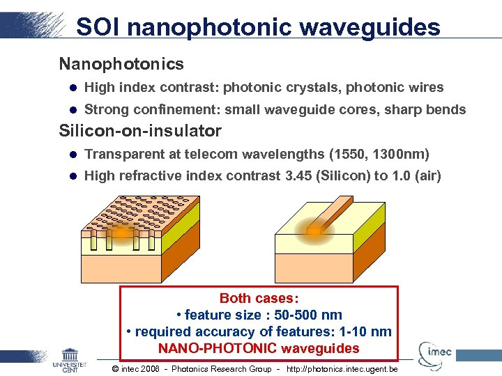 SOI nanophotonic waveguides Nanophotonics l High index contrast: photonic crystals, photonic wires l Strong