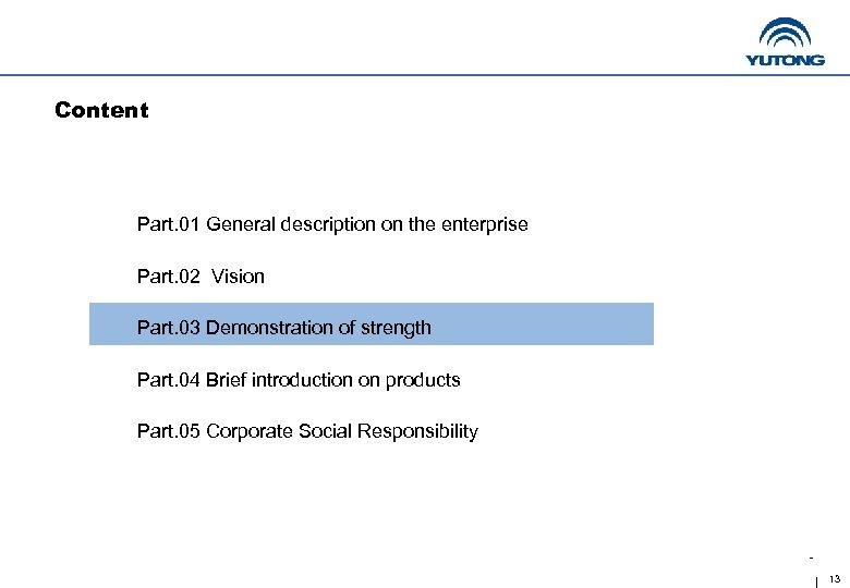 Content Part. 01 General description on the enterprise Part. 02 Vision Part. 03 Demonstration
