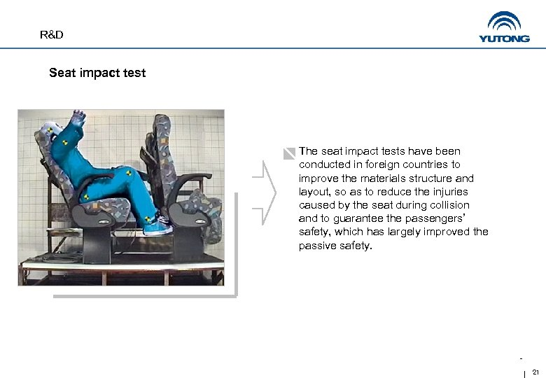 R&D Seat impact test The seat impact tests have been conducted in foreign countries