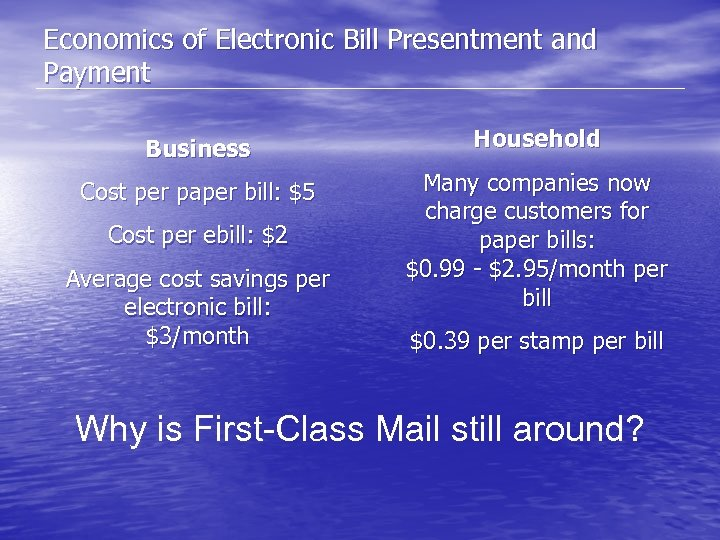Economics of Electronic Bill Presentment and Payment Business Household Cost per paper bill: $5
