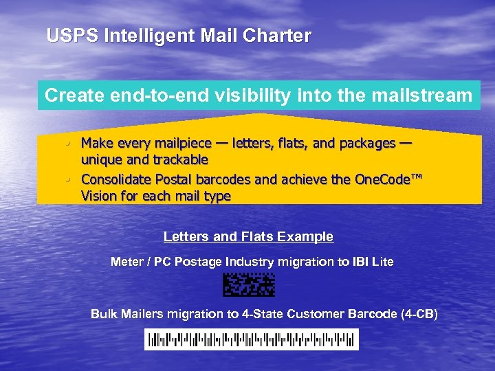 USPS Intelligent Mail Charter Create end-to-end visibility into the mailstream • Make every mailpiece