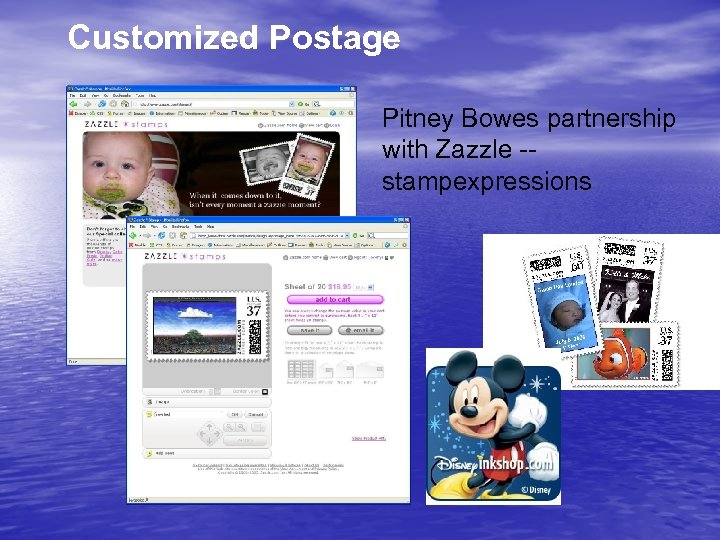 Customized Postage Pitney Bowes partnership with Zazzle -stampexpressions