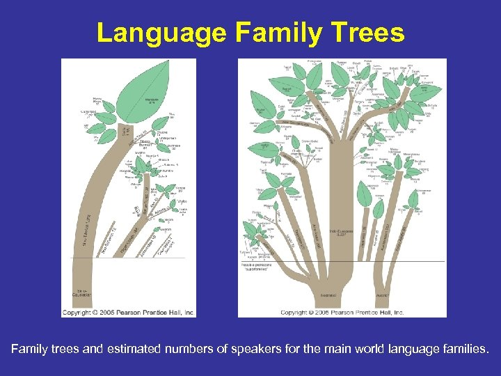 Language Family Trees Family trees and estimated numbers of speakers for the main world