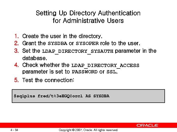 I Introduction Oracle Database 11 g Copyright