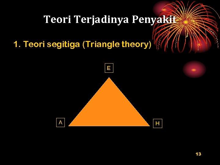 Teori Terjadinya Penyakit 1. Teori segitiga (Triangle theory) E A H 13