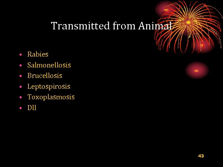 Transmitted from Animal • • • Rabies Salmonellosis Brucellosis Leptospirosis Toxoplasmosis Dll 43