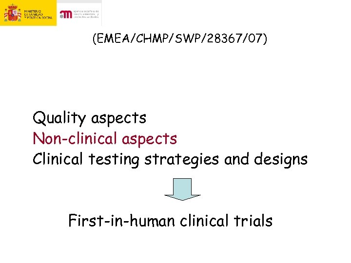 (EMEA/CHMP/SWP/28367/07) Quality aspects Non-clinical aspects Clinical testing strategies and designs First-in-human clinical trials
