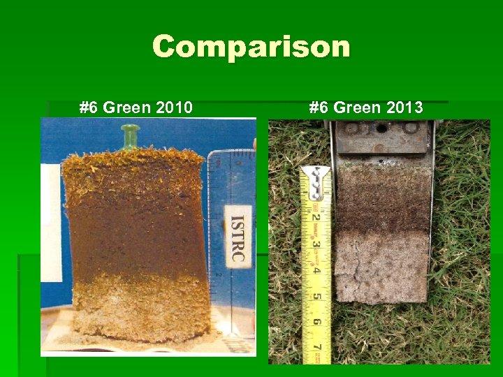 Comparison #6 Green 2010 #6 Green 2013
