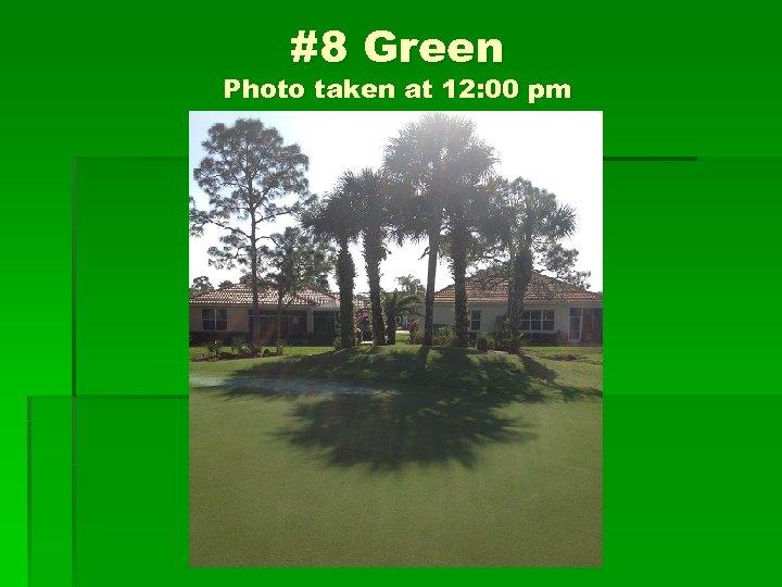 #8 Green Photo taken at 12: 00 pm