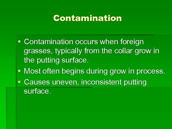 Contamination § Contamination occurs when foreign grasses, typically from the collar grow in the