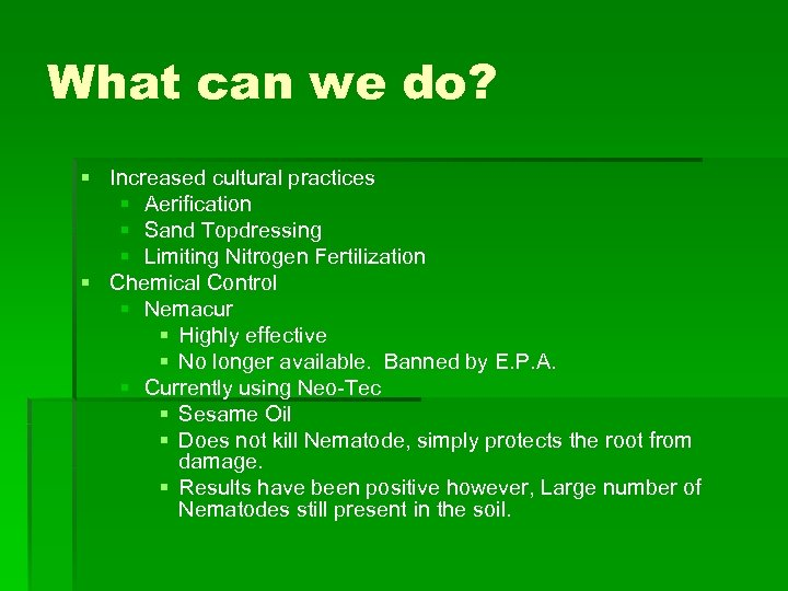 What can we do? § Increased cultural practices § Aerification § Sand Topdressing §