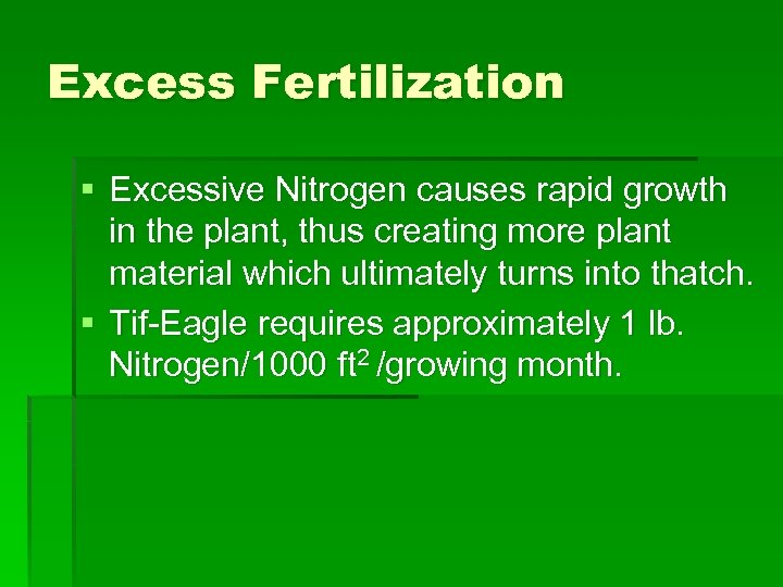 Excess Fertilization § Excessive Nitrogen causes rapid growth in the plant, thus creating more