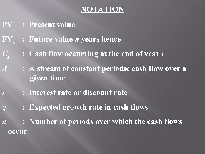 NOTATION PV : Present value FVn : Future value n years hence Ct :