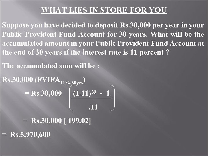 WHAT LIES IN STORE FOR YOU Suppose you have decided to deposit Rs. 30,