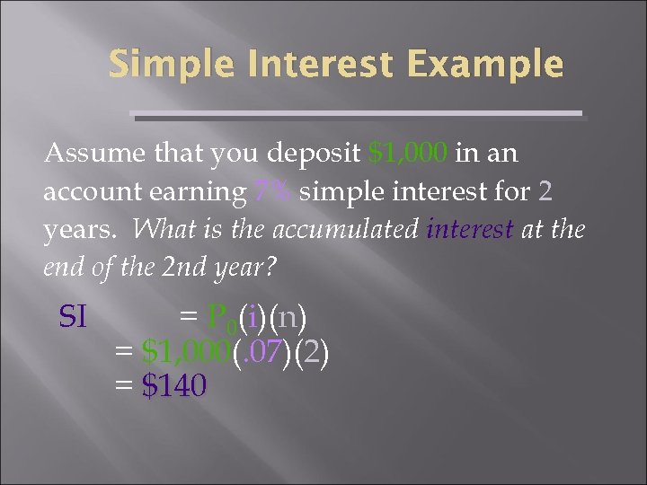 Simple Interest Example Assume that you deposit $1, 000 in an account earning 7%