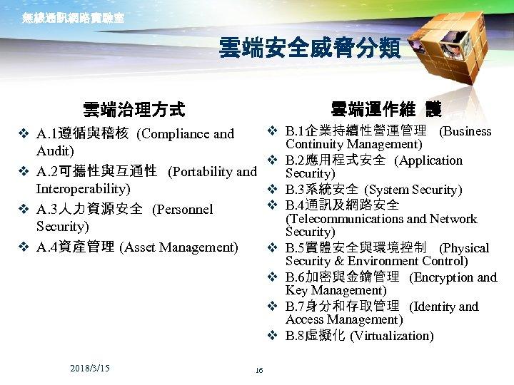 無線通訊網路實驗室 雲端安全威脅分類 雲端運作維 護 雲端治理方式 v A. 1遵循與稽核 (Compliance and Audit) v A. 2可攜性與互通性