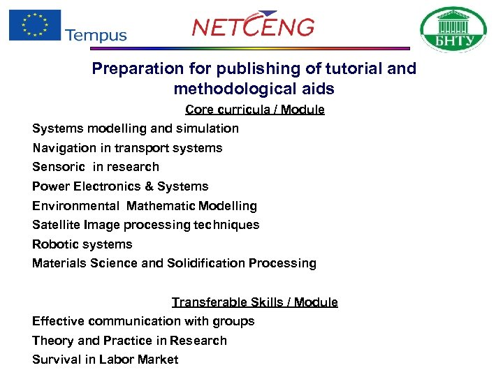 Preparation for publishing of tutorial and methodological aids Core curricula / Module Systems modelling