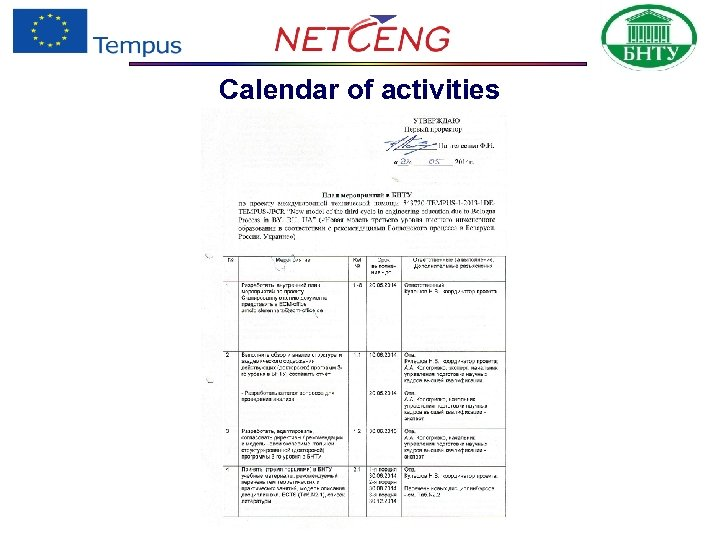 Calendar of activities