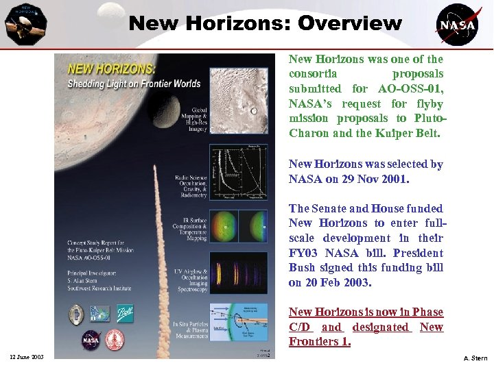 New Horizons: Overview New Horizons was one of the consortia proposals submitted for AO-OSS-01,