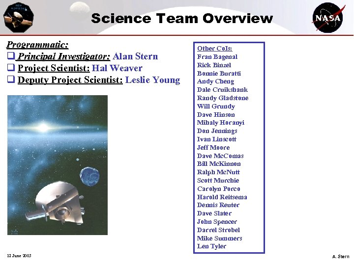 Science Team Overview Programmatic: q Principal Investigator: Alan Stern q Project Scientist: Hal Weaver