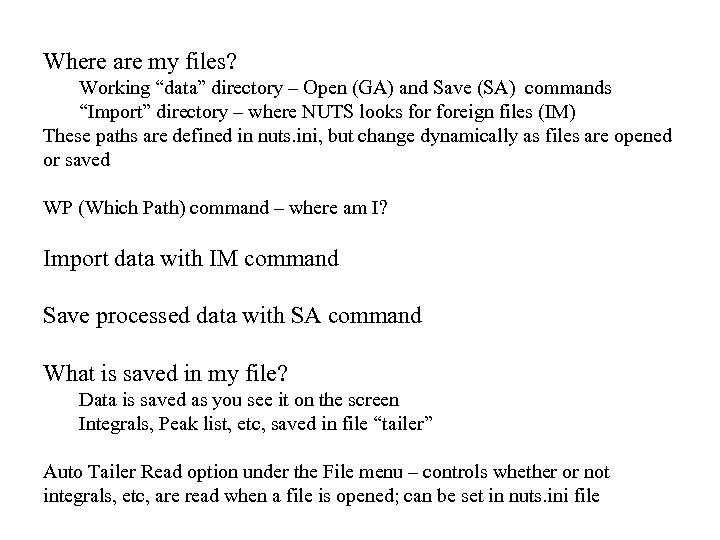 """Where are my files? Working """"data"""" directory – Open (GA) and Save (SA) commands"""