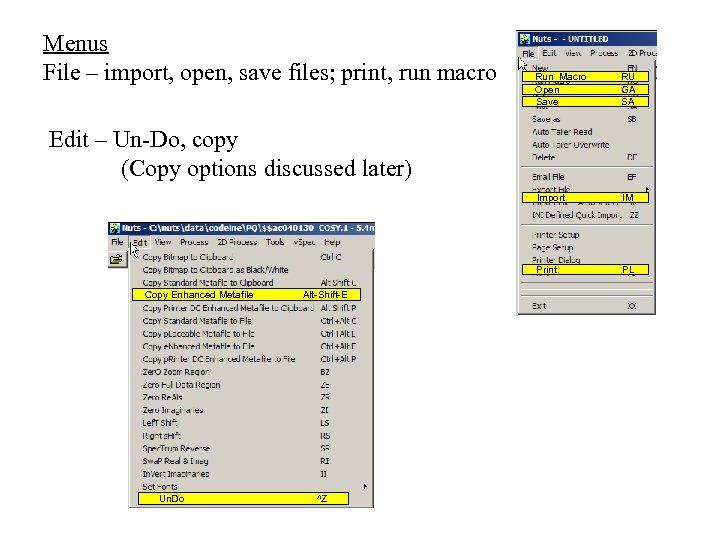 Menus File – import, open, save files; print, run macro Run Macro Open Save